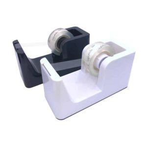 Tape Dispenser - Klebebandspender Tixo Spender Duo Schwarz Weiß - Einzigartig scharfe Cut Tech Klinge