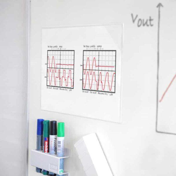 Quick Sticker Magnet - Magnet Aushangfolie A3 A4 A5 transparent Beispiel Anwendung Whiteboard