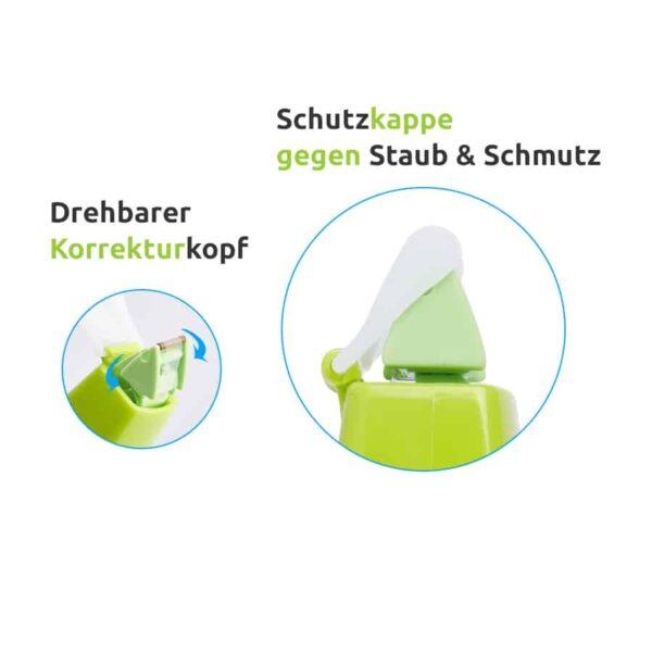 Korrekturmaus Whiper MR grün 4,2 mm drehbarer Korrekturkopf Schutzkappe gegen Staub und Schmutz