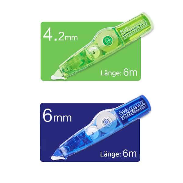 Korrekturmaus Whiper MR grün 4,2 mm blau 6,0 mm 6 m lang