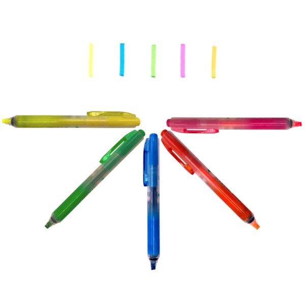 Innovativer Textmarker Highlighter Click 10er Set Bunt Gelb Grün Blau Orange Pink
